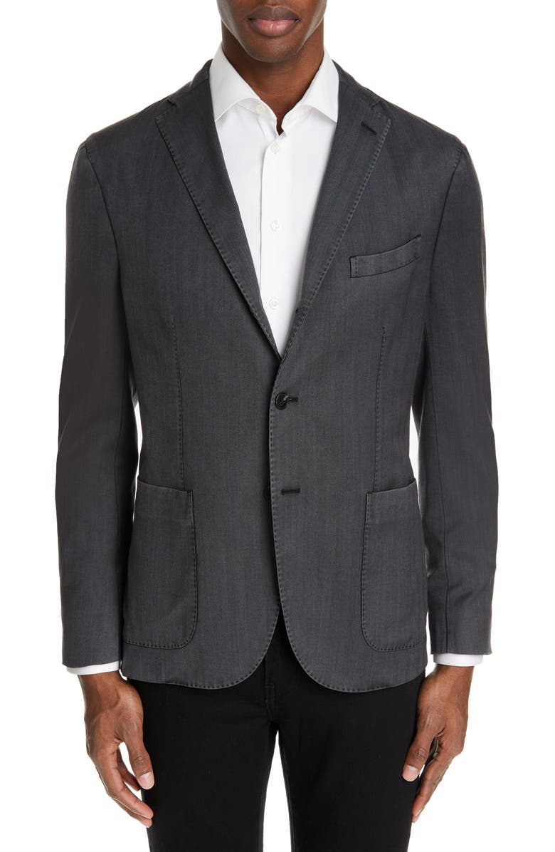 BOGLIOLI Travel K Slim Fit Wool Blazer, Main, color, BLACK