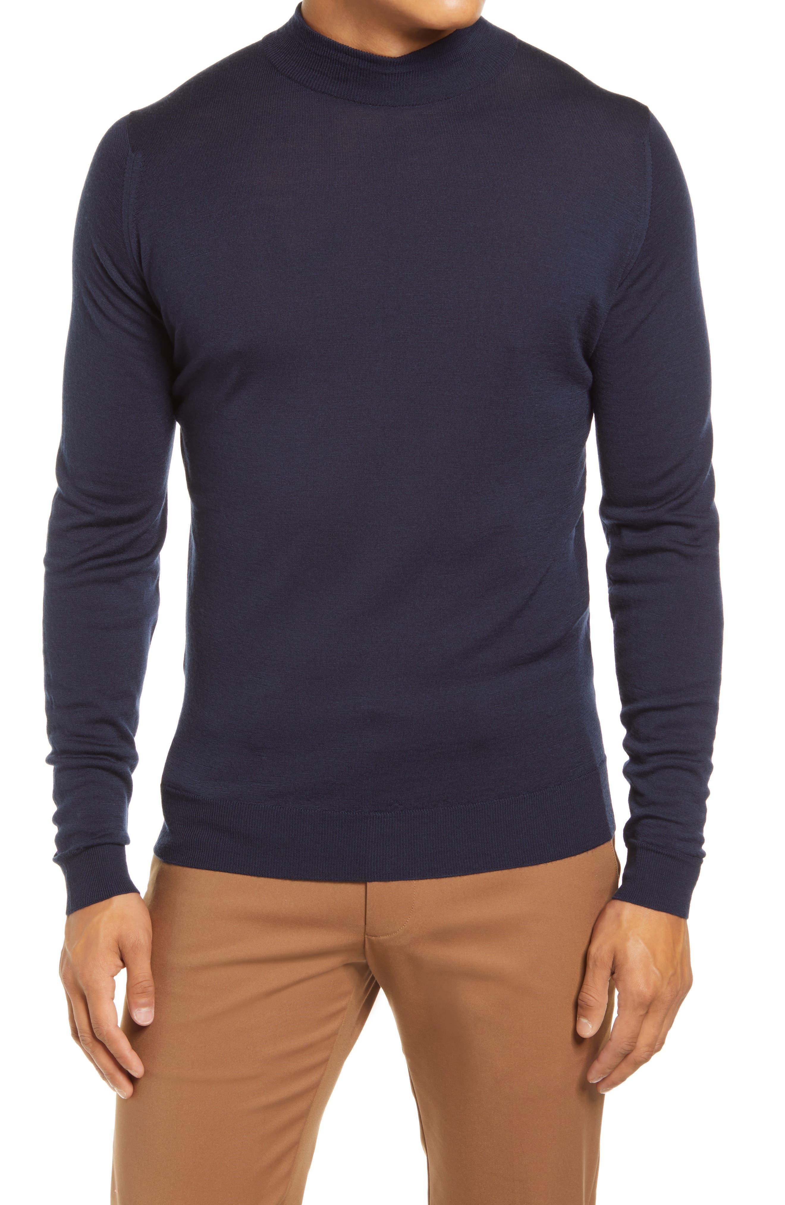 Slim Fit Mock Neck Merino Wool Sweater