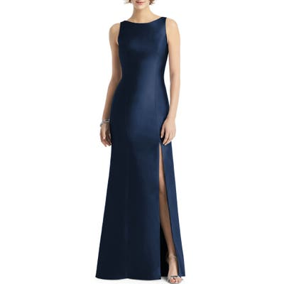 Alfred Sung Bateau Neck Mermaid Gown, Blue