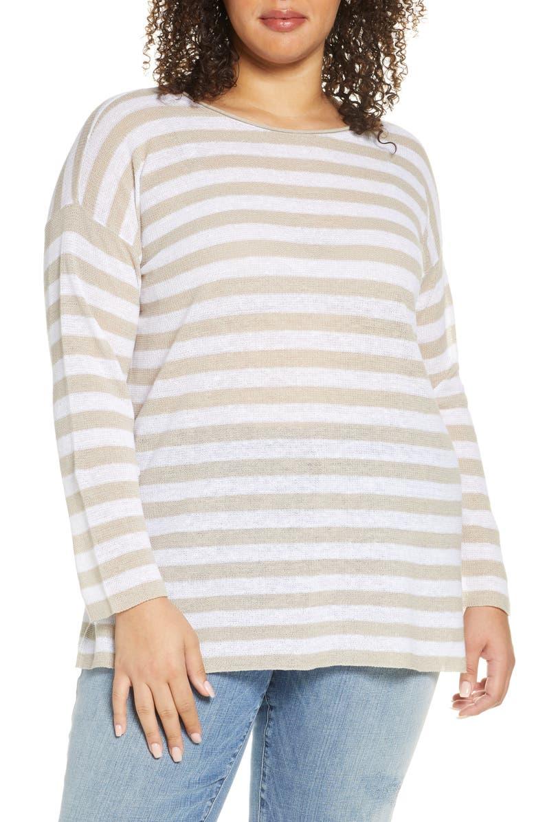 EILEEN FISHER Stripe Organic Linen & Cotton Tunic, Main, color, NATURAL/ WHITE