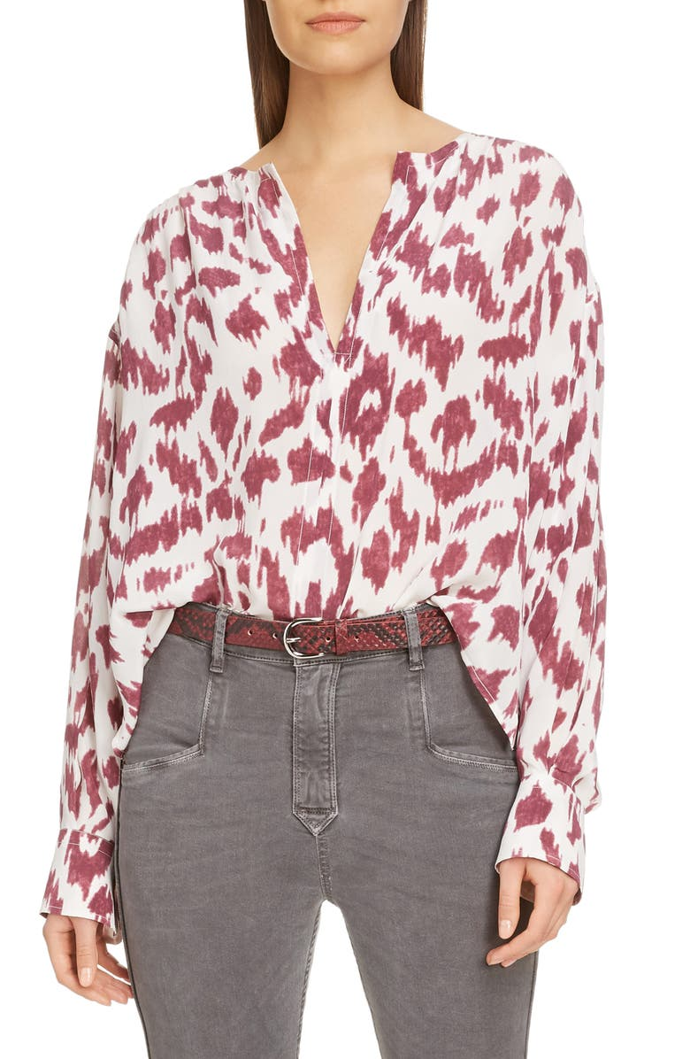 ISABEL MARANT ÉTOILE Yacah Silk High/Low Shirt, Main, color, ECRU