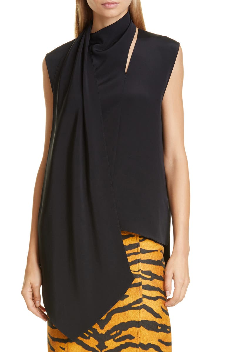 ADAM LIPPES Scarf Neck Crepe Blouse, Main, color, BLACK