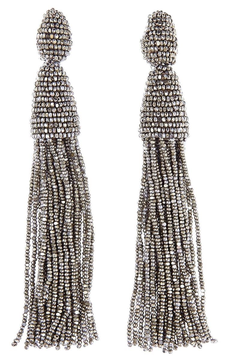 OSCAR DE LA RENTA Long Tassel Drop Clip Earrings, Main, color, CHAMPAGNE