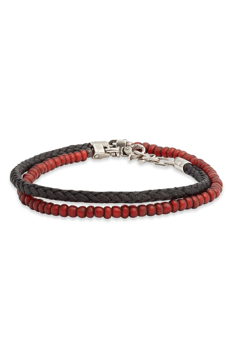 TITLE OF WORK Tahitian Pearl & Leather Wrap Bracelet, Main, color, SILVER/ BLACK/ RED