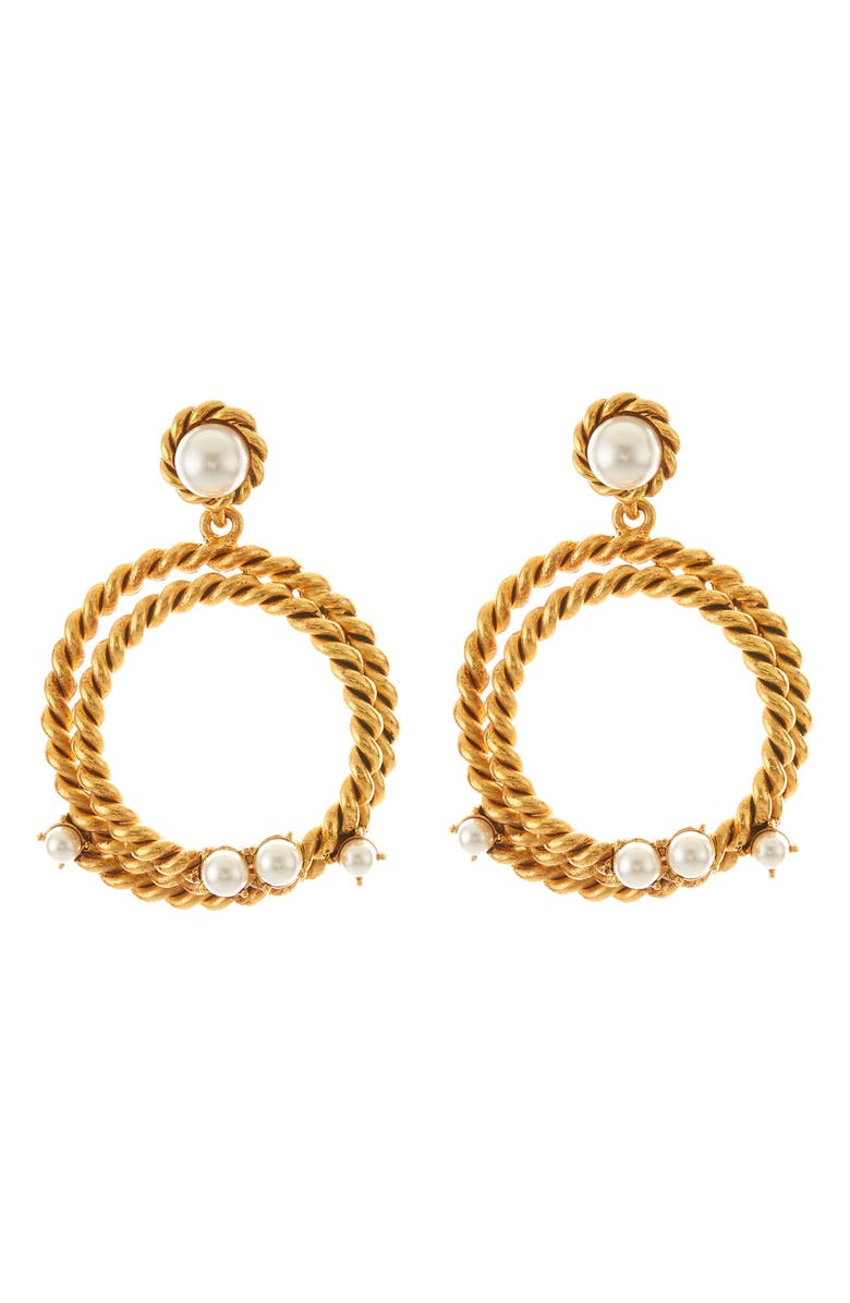 OSCAR DE LA RENTA Rope Hoop Earrings, Main, color, 710