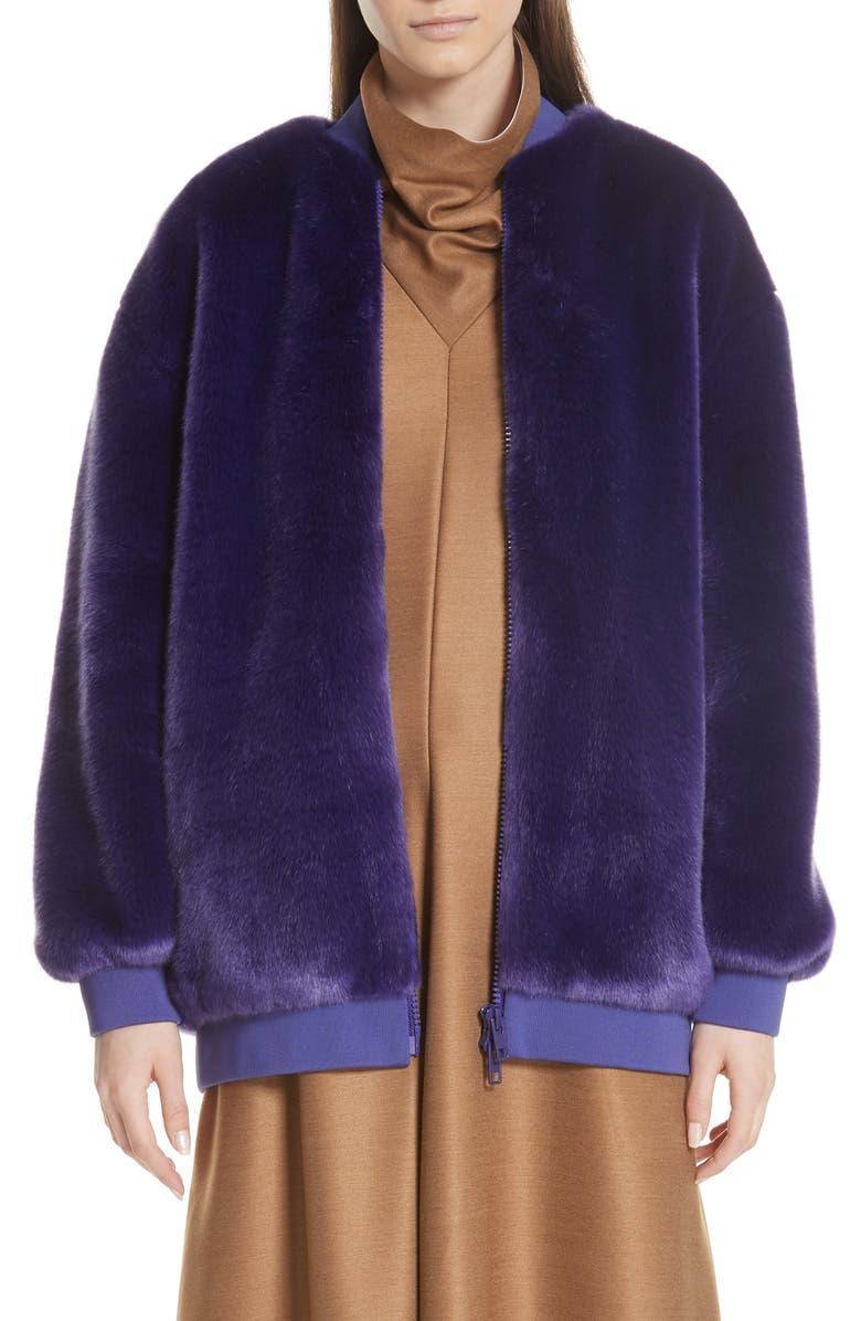 TIBI Faux Fur Bomber Jacket, Main, color, 500