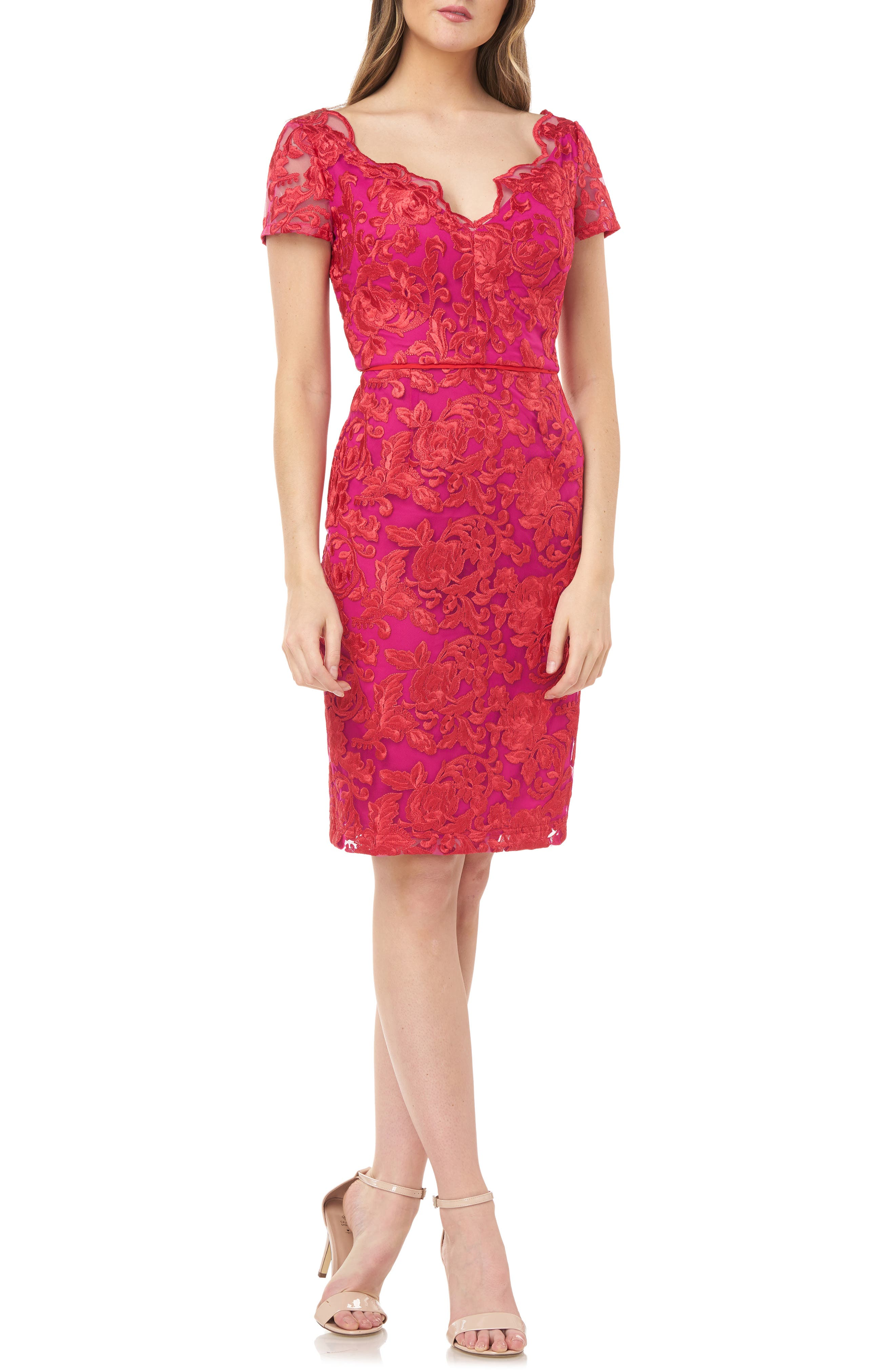 Fiery colors and scalloped edges scintillate on this embroidered sheath that\\\'s sure to ignite interest. Style Name: Js Collections Embroidered Scalloped V-Neck Mesh Dress. Style Number: 6060463. Available in stores.