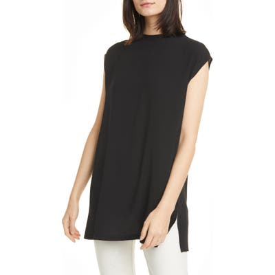 Eileen Fisher Funnel Neck Silk Box Top Tunic, Black