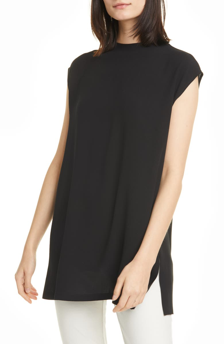 EILEEN FISHER Funnel Neck Silk Box Top Tunic, Main, color, 001