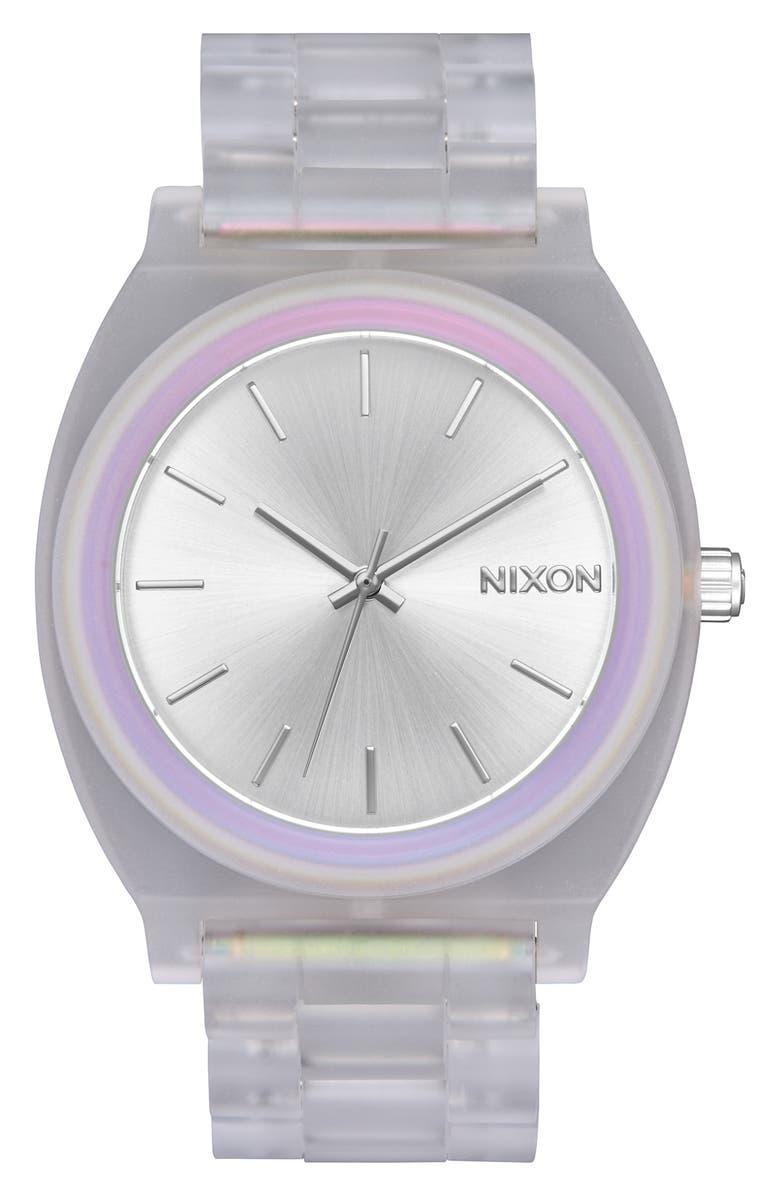 NIXON Time Teller Acetate Bracelet Watch, 40mm, Main, color, CLEAR/ RAINBOW/ SILVER