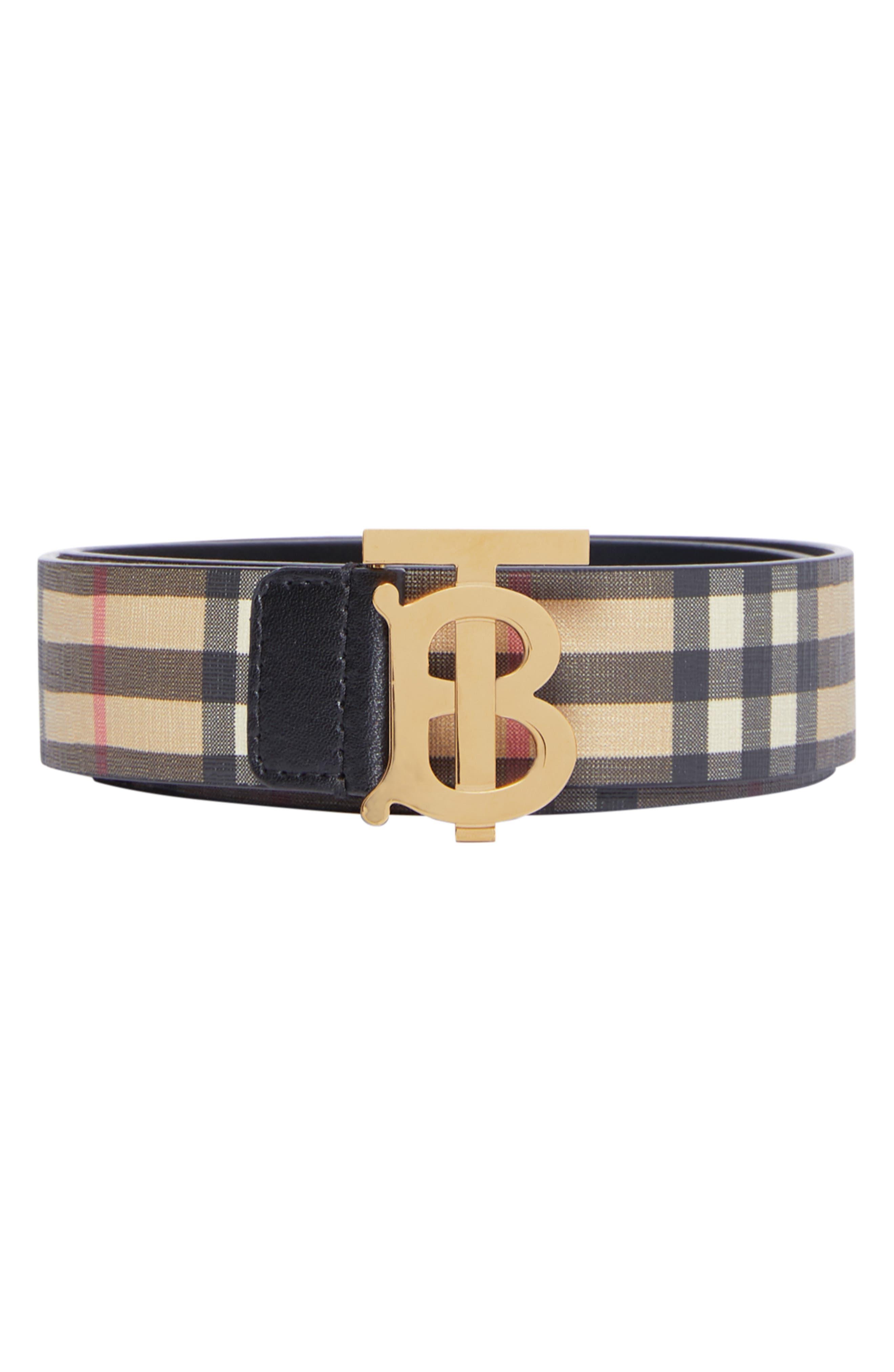 BURBERRY TB Monogram Vintage Check Canvas Belt