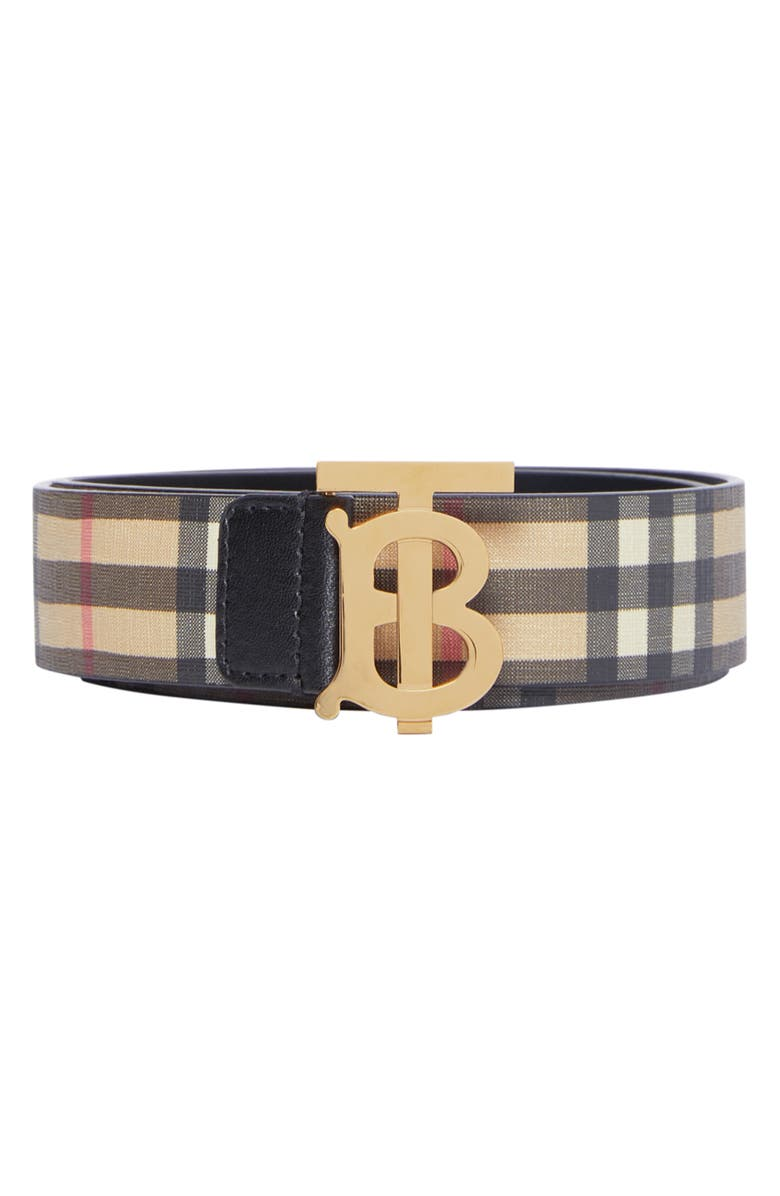 BURBERRY TB Monogram Vintage Check Canvas Belt, Main, color, ARCHIVE BEIGE