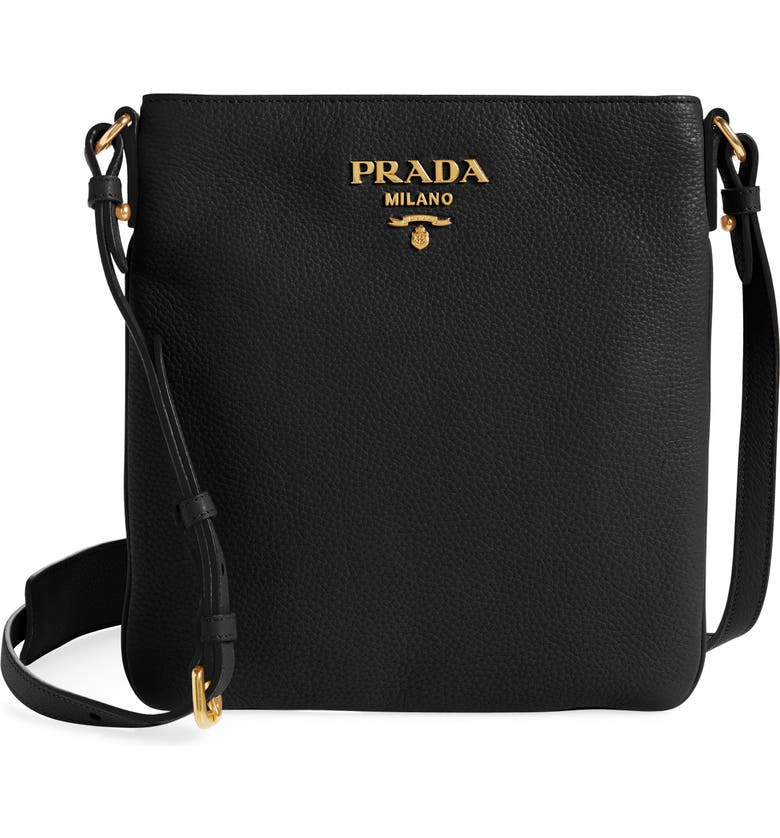 PRADA Daino Leather Flat Crossbody Bag, Main, color, NERO