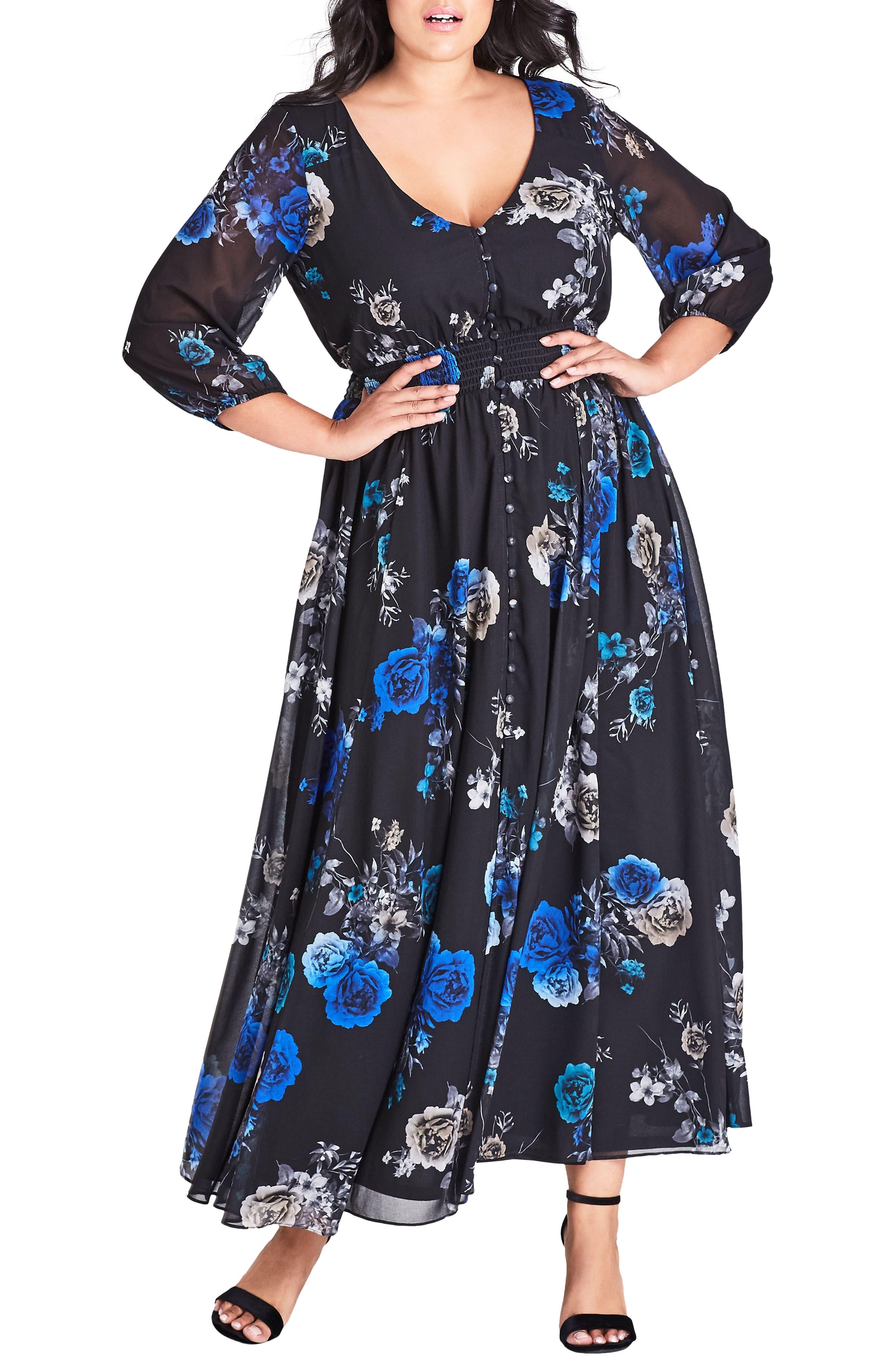 Plus Size City Chic Electric Floral Print Maxi Dress, Black