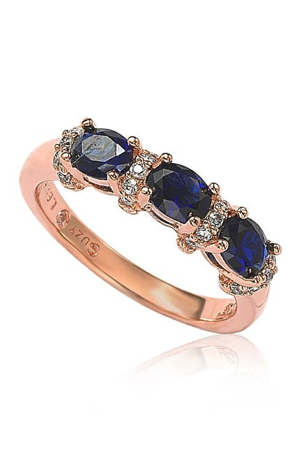 Image of Suzy Levian Rose Sterling Silver Natural Blue Sapphire and Diamond Accent Half Band Ring