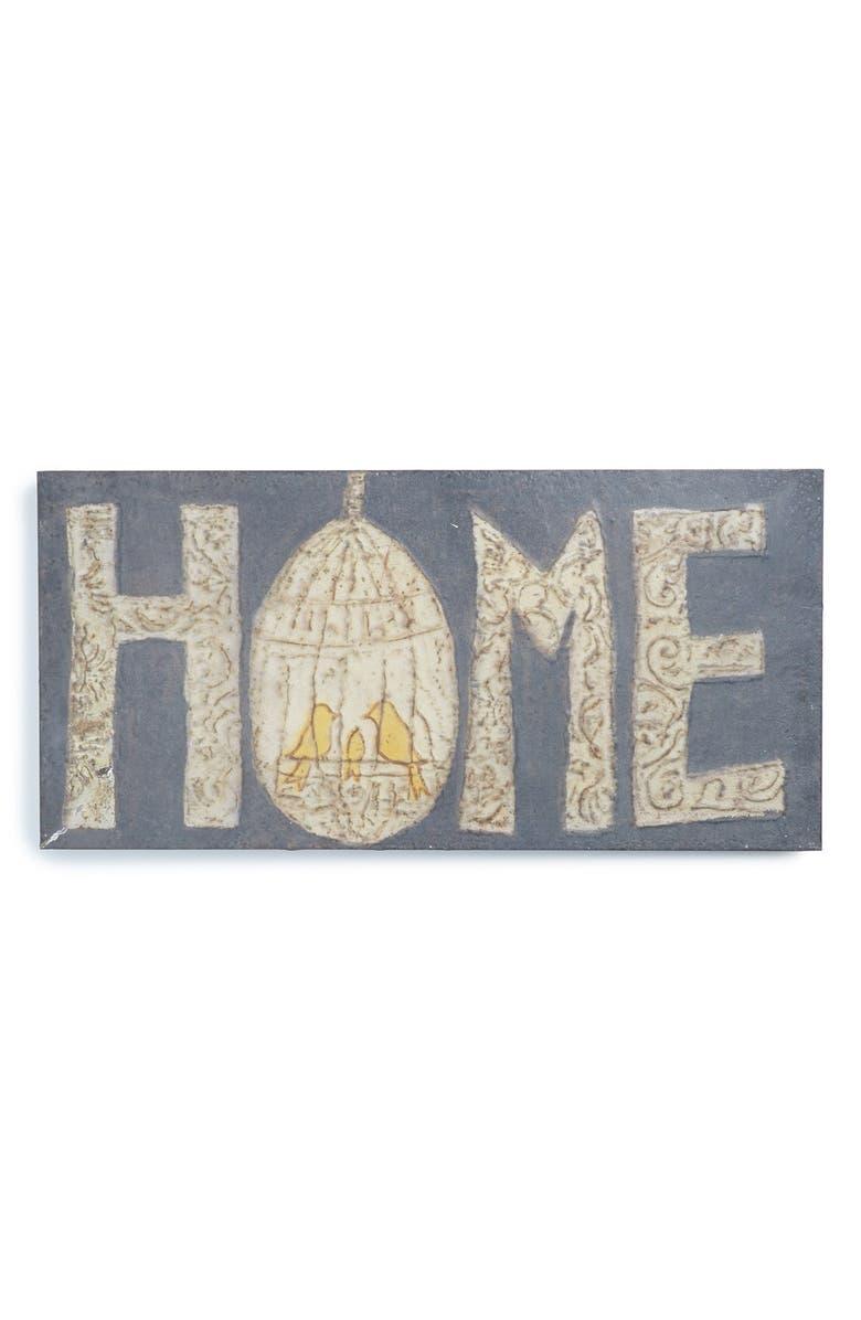 CREATIVE CO-OP 'Home' Metal Wall Plaque, Main, color, 001