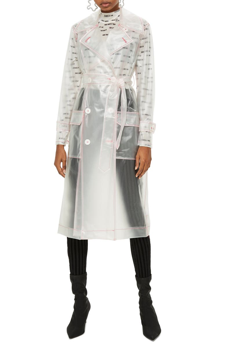 TOPSHOP Frosted Vinyl Mac Trench Coat, Main, color, 100