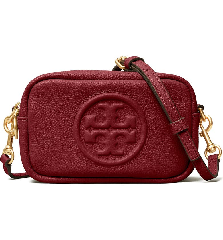 TORY BURCH Perry Bombe Leather Crossbody Bag, Main, color, TINTO