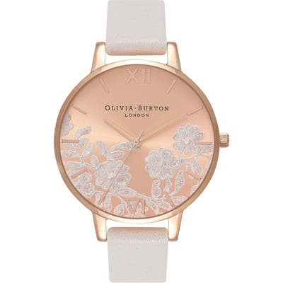 Olivia Burton Lace Detail Leather Strap Watch,