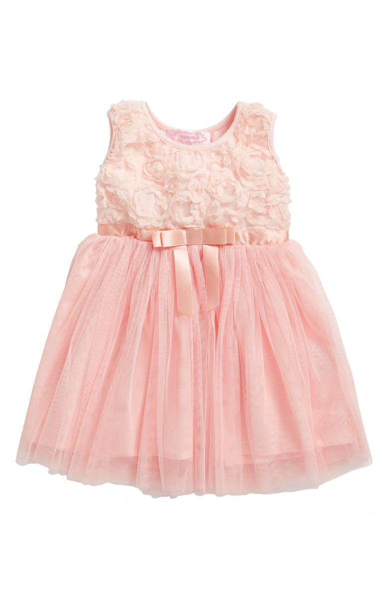 POPATU Empire Waist Rosette Dress, Main, color, PEACH