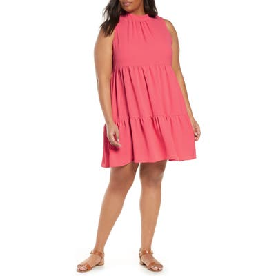 Plus Size Gibson X The Motherchic Lakeshore Tiered Dress, Pink
