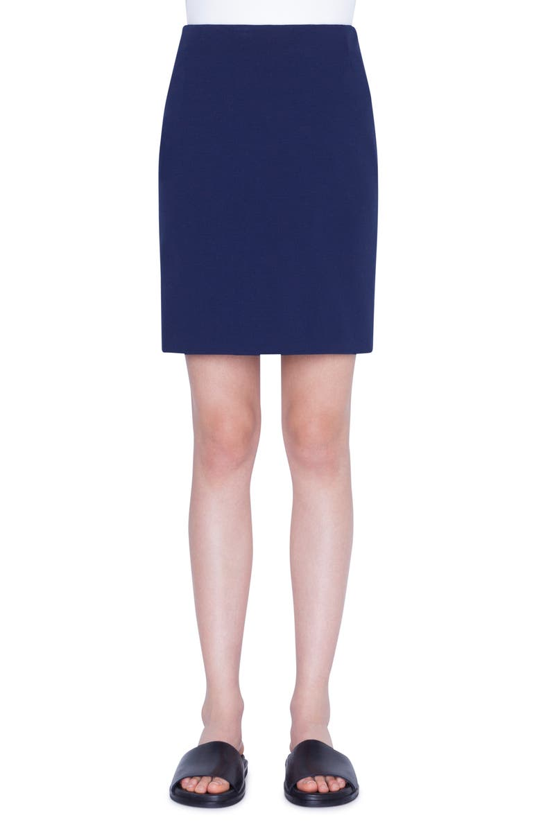 AKRIS PUNTO Jersey Miniskirt, Main, color, DARK DENIM