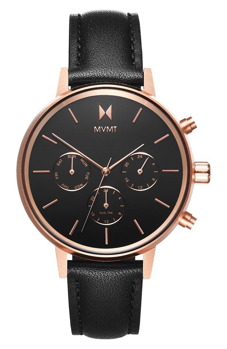 MVMT Nova Chronograph Leather Strap Watch, 38mm, Main, color, 001