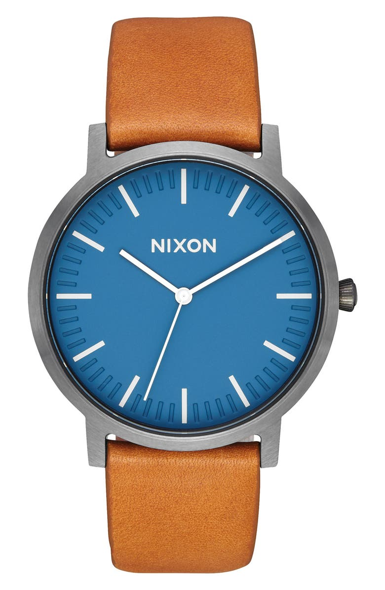 NIXON Porter Leather Strap Watch, 40mm, Main, color, 200