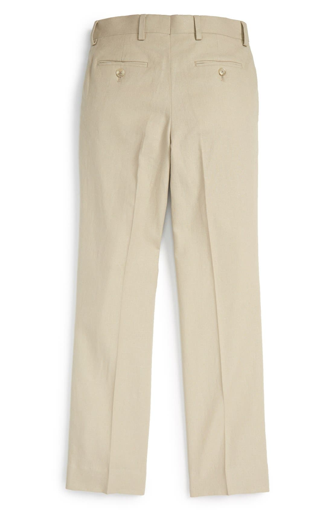 ,                             'Kirton' Flat Front Linen Blend Trousers,                             Alternate thumbnail 3, color,                             TAN