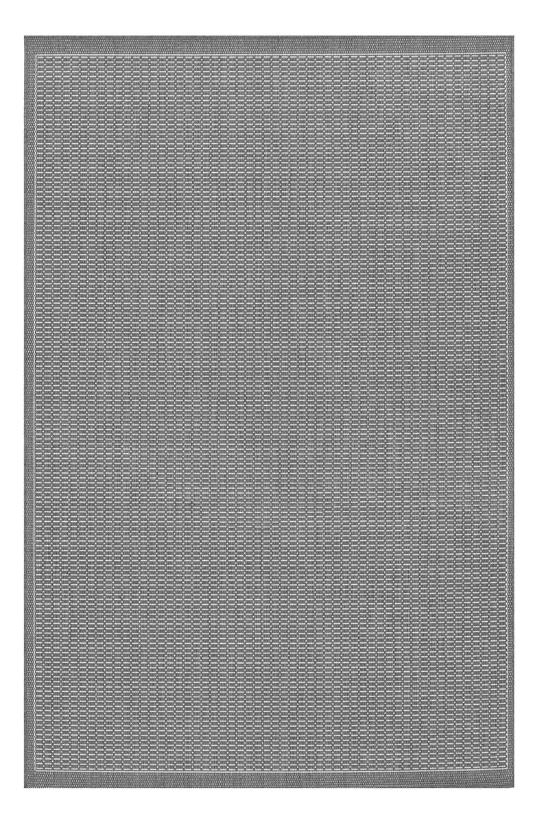 COURISTAN Saddlestitch Indoor/Outdoor Rug, Main, color, GREY/ WHITE
