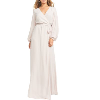 Show Me Your Mumu Lady Long Sleeve Faux Wrap Gown, Beige