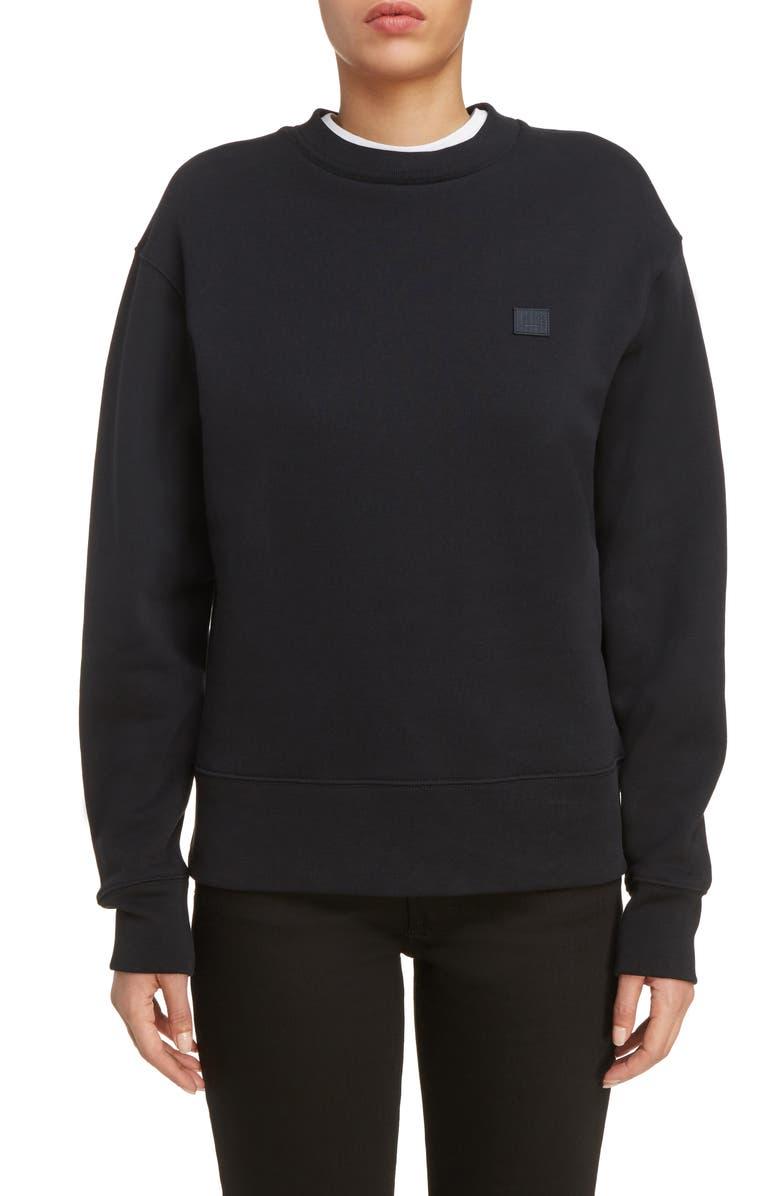 ACNE STUDIOS Fairview Face Sweatshirt, Main, color, BLACK