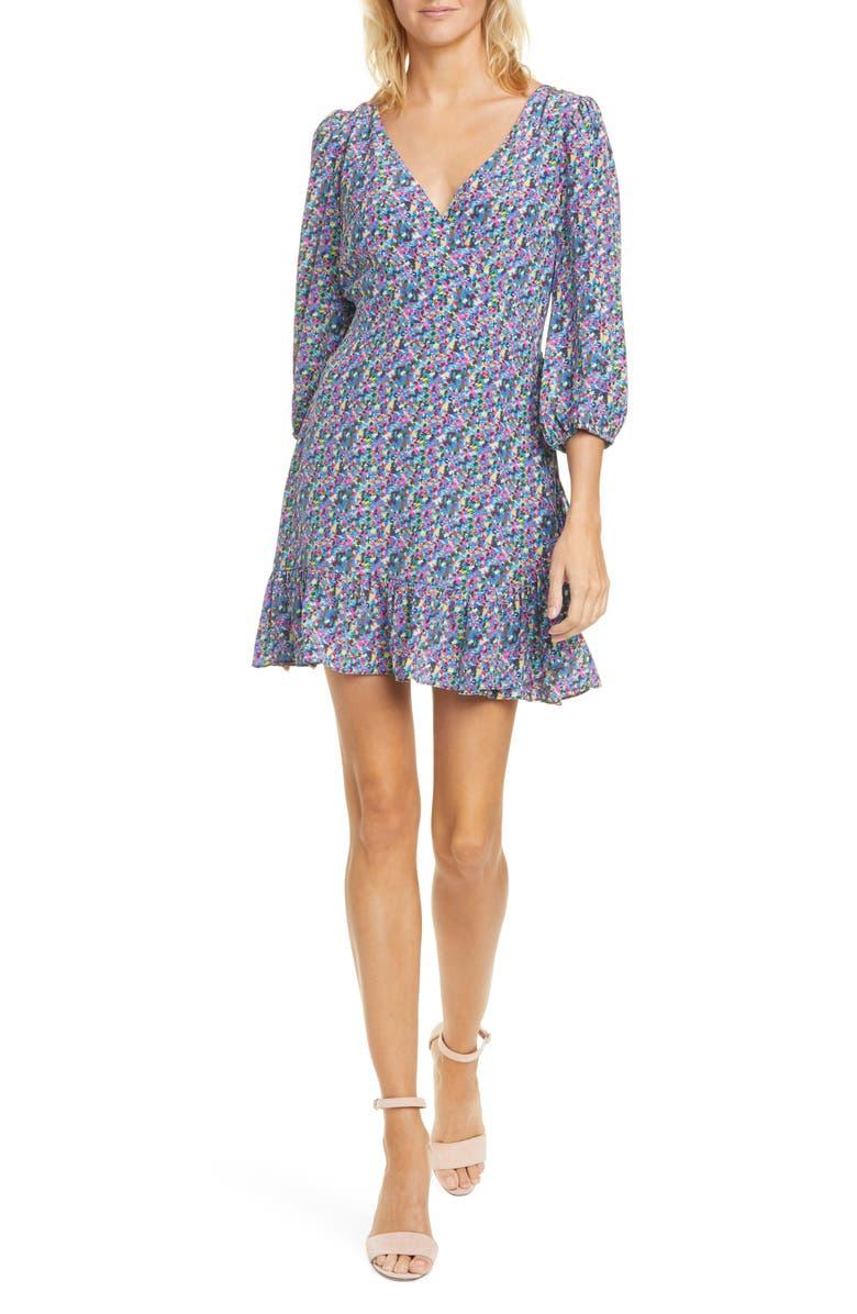 TANYA TAYLOR Bernadina Faux Wrap Silk Minidress, Main, color, CONFETTI