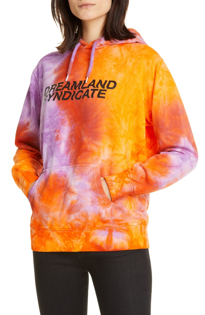 DREAMLAND SYNDICATE Tie Dye Hoodie, Main, color, ORANGE TIE DYE W/ PRINT