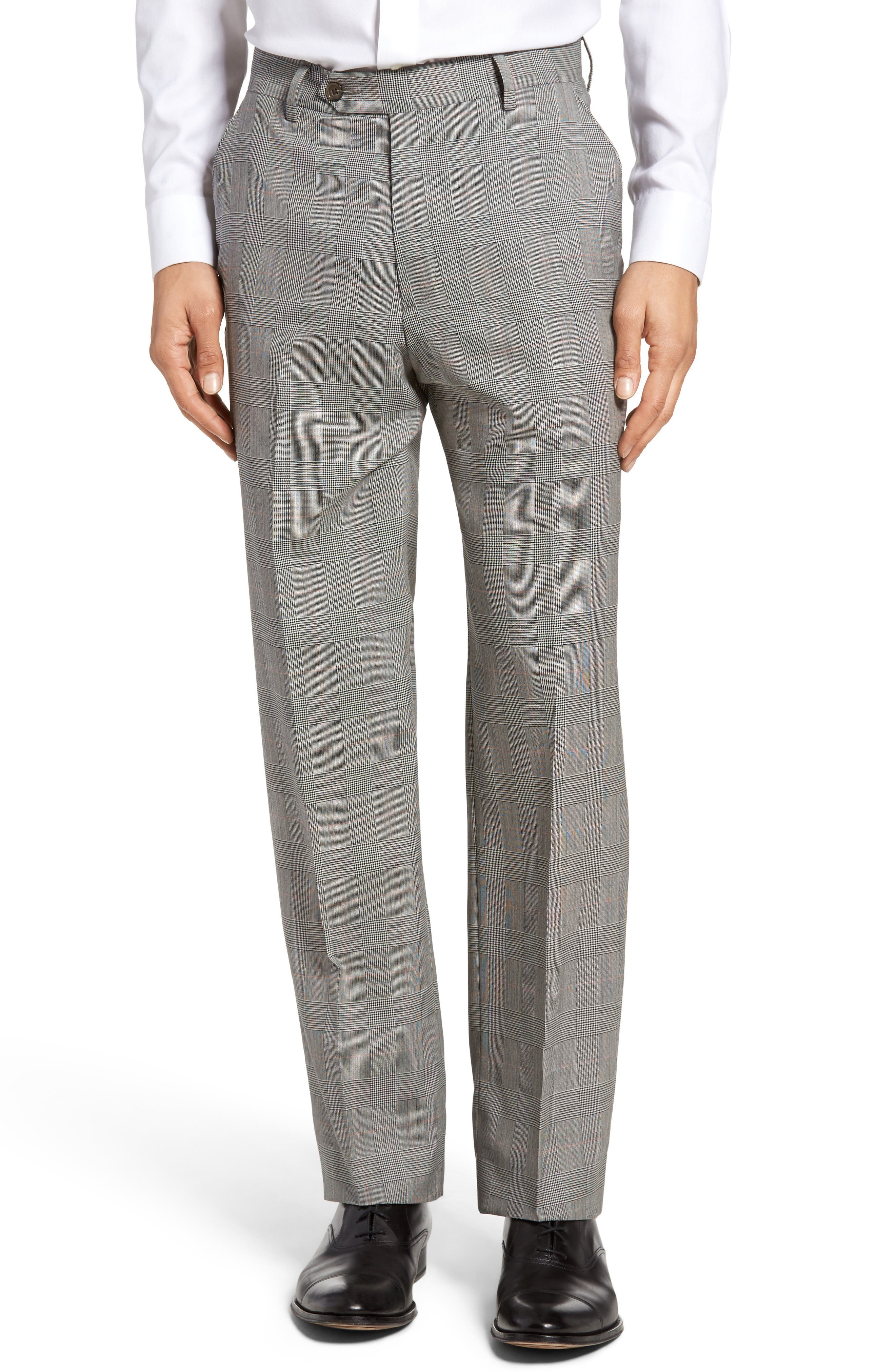 Lightweight Flat Front Plaid Classic Fit Trousers