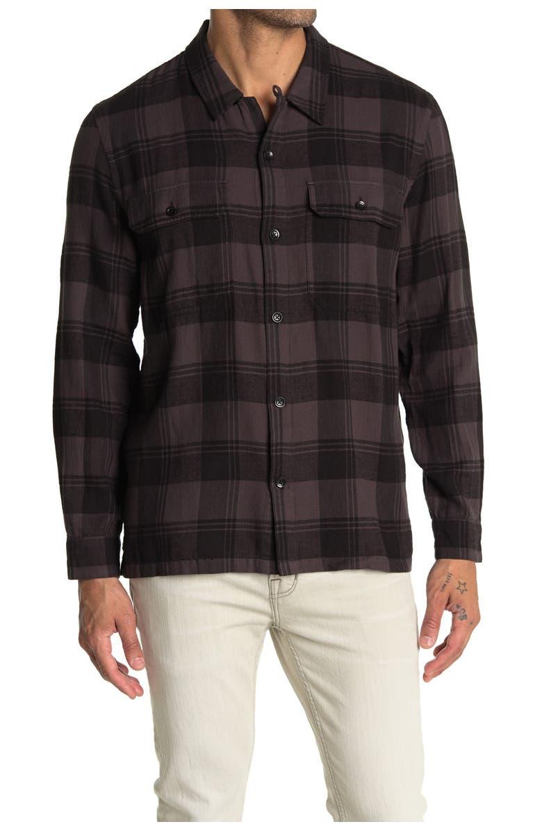 BLDWN Genoa Plaid Print Long Sleeve Shirt, Main, color, BLCK