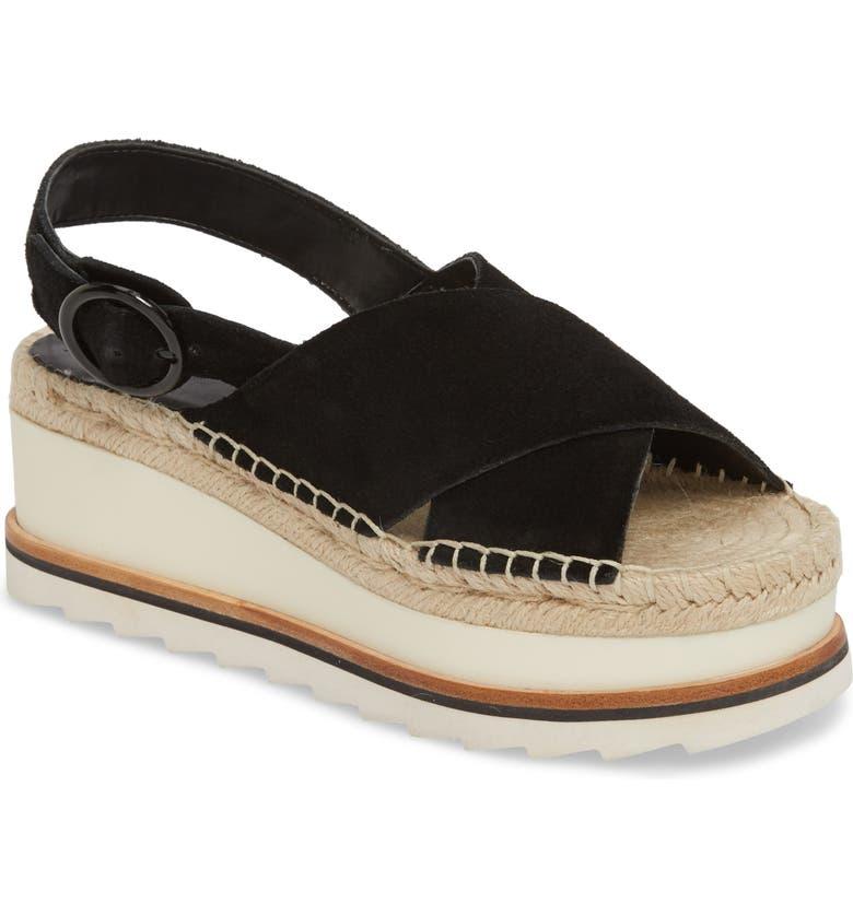 MARC FISHER LTD Glenna Platform Slingback Sandal, Main, color, BLACK SUEDE