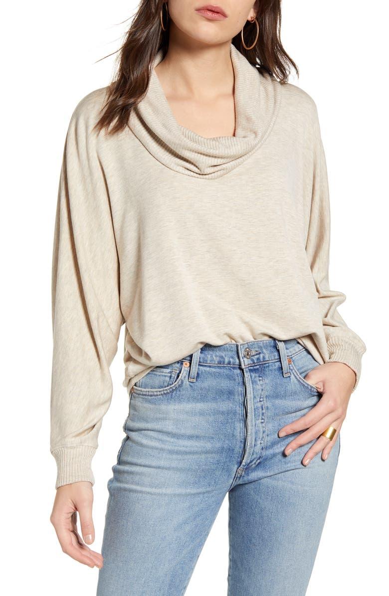 SPLENDID Rib Cowl Neck Sweater, Main, color, HEATHER OATMEAL