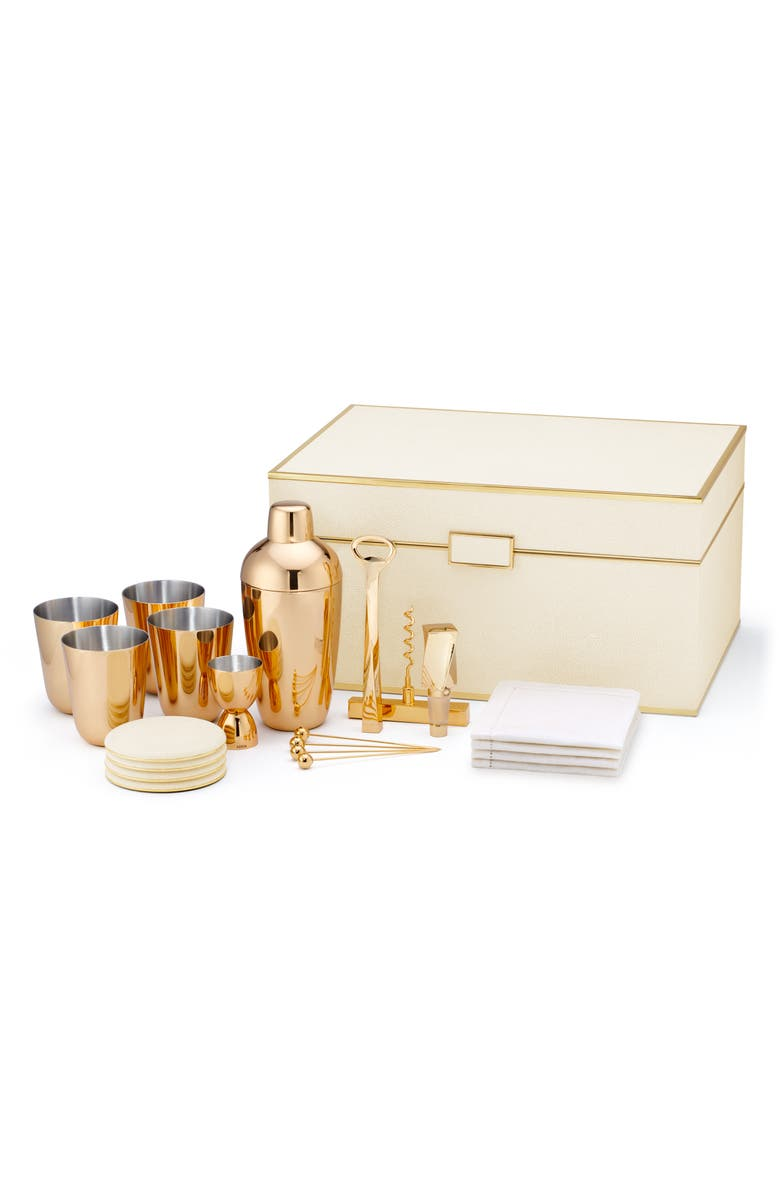 AERIN 21-Piece Shagreen Bar Set, Main, color, CREAM