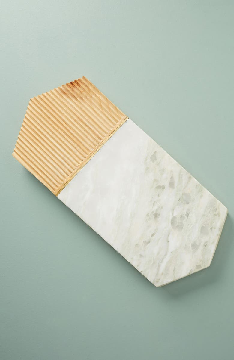 ANTHROPOLOGIE HOME Anthropologie Karala Pine Wood & Marble Cheese Board, Main, color, WHITE