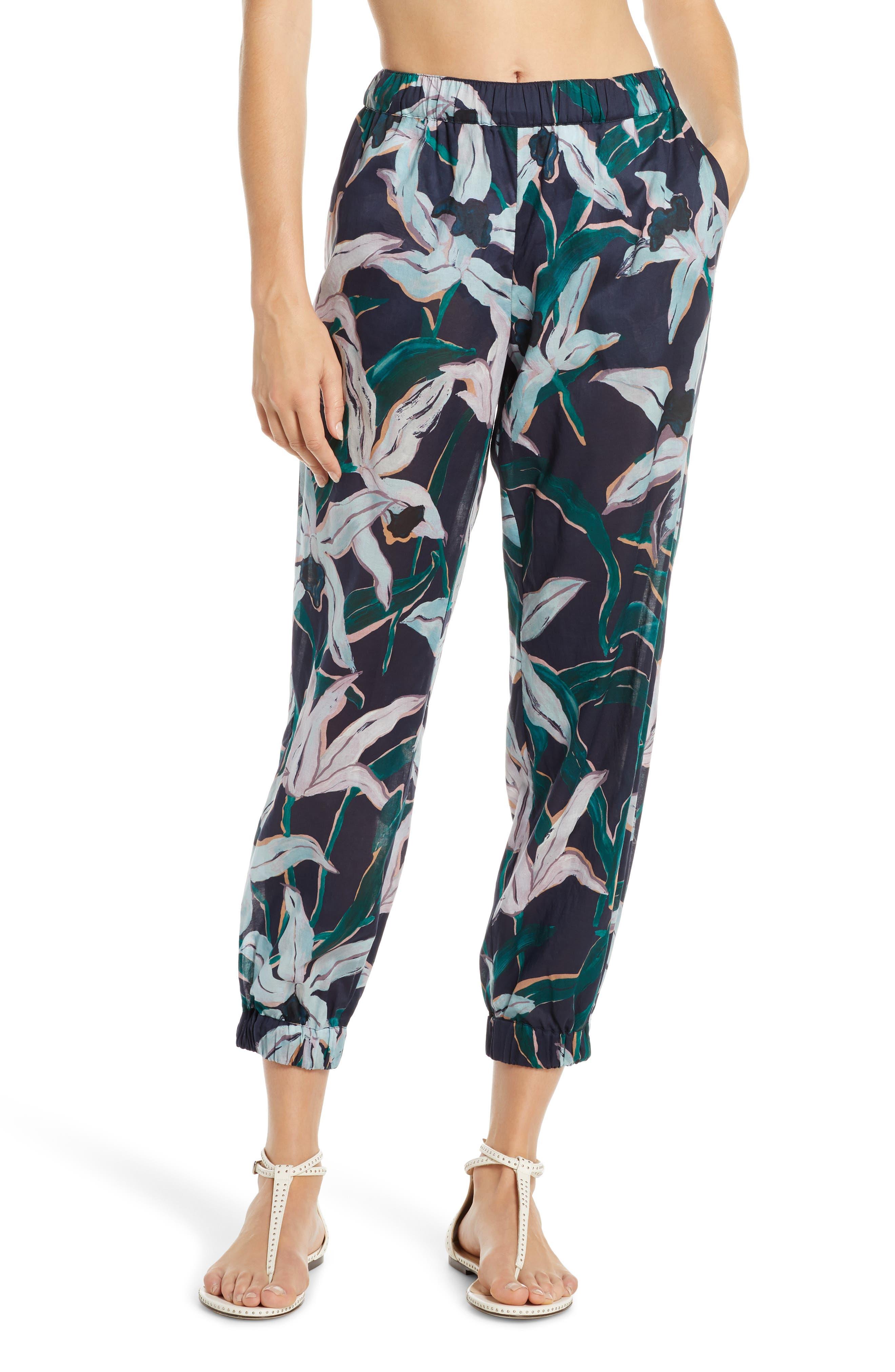 Tory Burch Floral Print Crop Cotton Pants, Blue