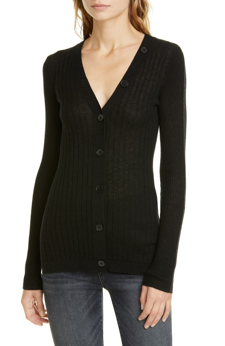 JOIE Brinleigh Ribbed Wool & Silk Cardigan, Main, color, CAVIAR