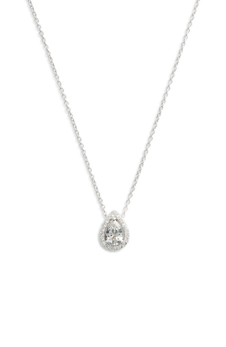 LAFONN Pear Shaped Halo Necklace, Main, color, 040