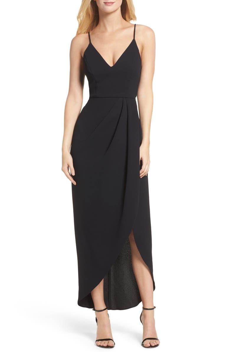 XSCAPE High/Low Dress, Main, color, 001