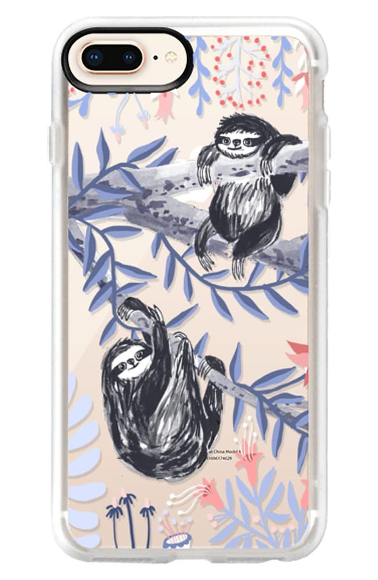 CASETIFY Two Sloths iPhone 6/7/8 & 7/8 Plus Case, Main, color, BLUE / WHITE / BLACK / PINK