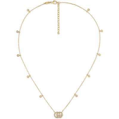 Gucci Running G Diamond Pendant Necklace