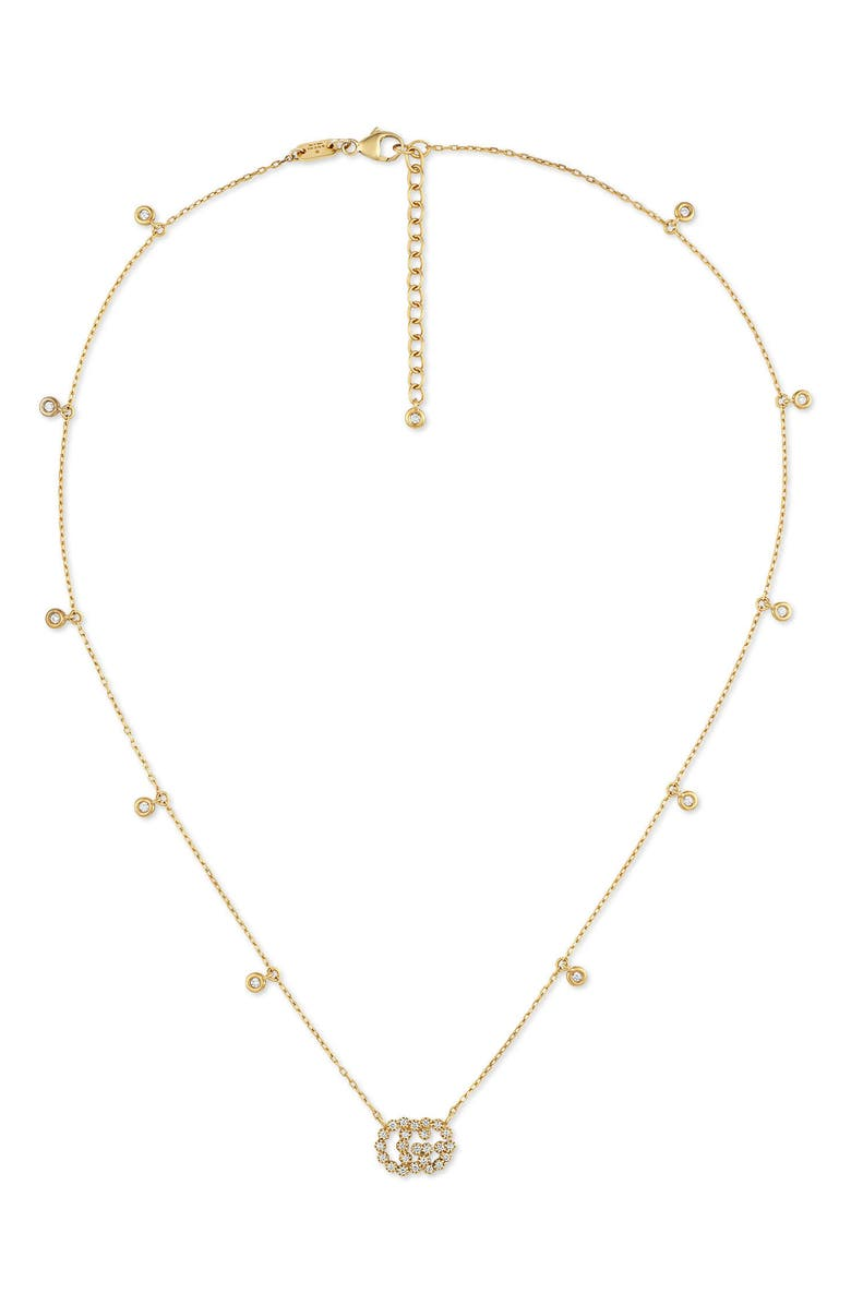 GUCCI Running G Diamond Pendant Necklace, Main, color, YELLOW GOLD