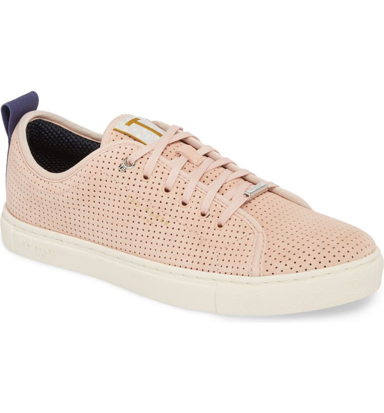 TED BAKER LONDON Kaliix Perforated Low Top Sneaker, Main, color, LIGHT PINK SUEDE