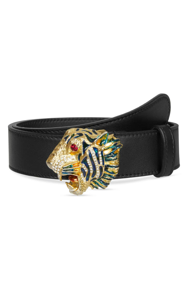 GUCCI Crystal Tiger Head Leather Belt, Main, color, NERO/ MULTI