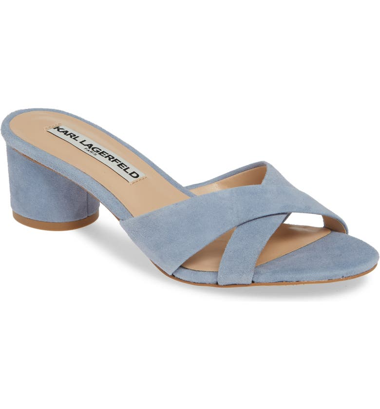 KARL LAGERFELD PARIS Fawn Slide Sandal, Main, color, CORNFLOWER BLUE SUEDE